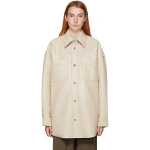 Nanushka Beige Vegan Leather Martin Shirt Jacket