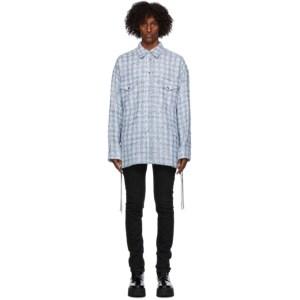 Faith Connexion Blue Laced Tweed Overshirt