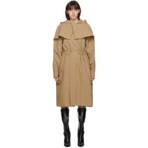 Vejas Beige Hooded Cape Coat