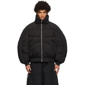 Chen Peng Black Down Pleated Puffer Jacket