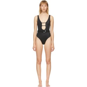 Solid and Striped Black The Beatrice One-Piece Swimsuit