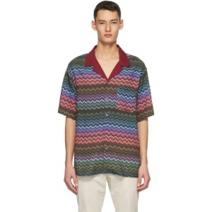 Missoni Red and Khaki Striped Short Sleeve Shirt