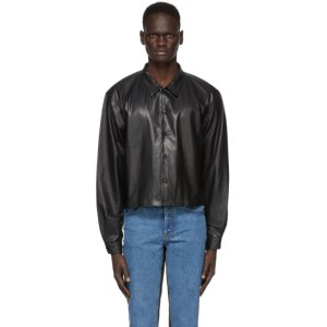 Enfants Riches Deprimes Black Lambskin Overshirt Jacket