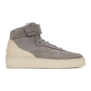 A-COLD-WALL* Grey Suede Rhombus Hi-Top Sneakers