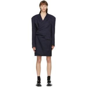 Martine Rose Navy Wool Geneve Wrap Dress