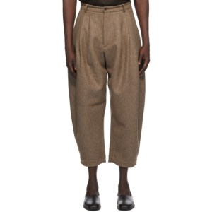 Hed Mayner Brown Wool 8 Pleat Trousers