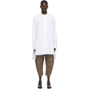 Hed Mayner White Long Slit Shirt