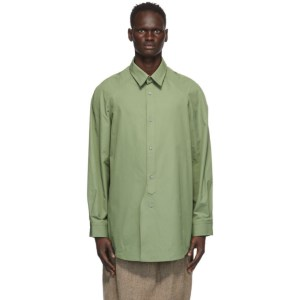 Hed Mayner Green Cotton Raglan Shirt