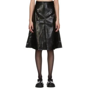 Shushu/Tong Black Faux-Leather Croc Single Pleat Skirt
