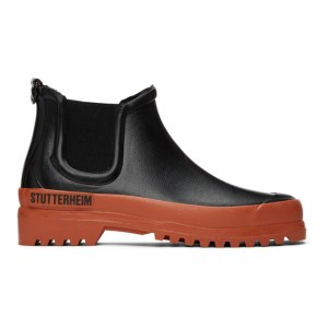 Stutterheim Black and Orange Rainwalker Chelsea Boots