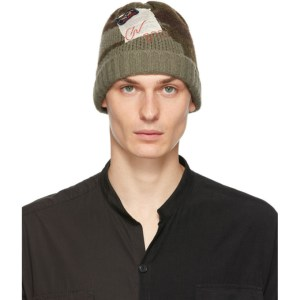 Greg Lauren Green Wool Camo Beanie
