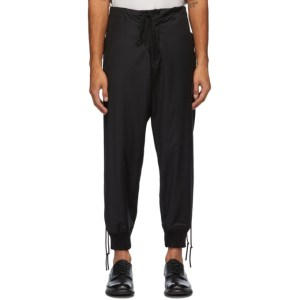 Greg Lauren Black Tux Stacked Lounge Trousers