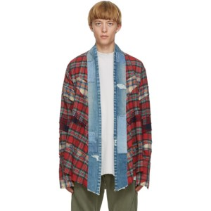 Greg Lauren Red Plaid Kimono Studio Shirt
