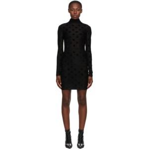 MISBHV Black Velour Monogram Short Dress