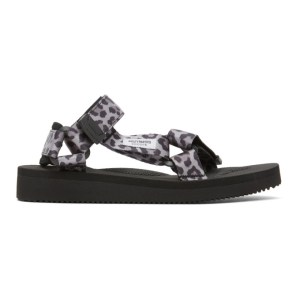 WACKO MARIA Grey and Black Suicoke Edition Leopard Beach Sandals