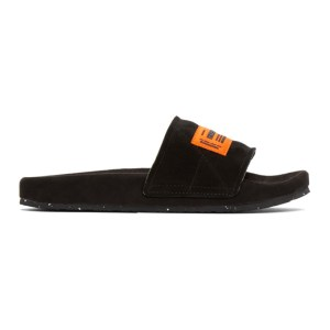 Heron Preston Black and Orange Sponge Slides