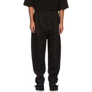 Jan-Jan Van Essche Black Linen Brushed Trousers