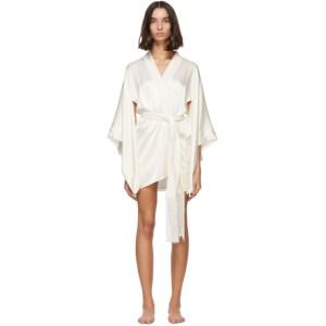 Kiki de Montparnasse Off-White Silk Kimono Robe