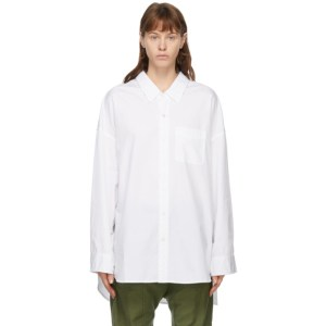 R13 White Drop Neck Oxford Shirt