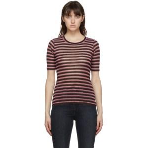 rag and bone Pink Metallic Stripe T-Shirt