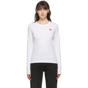 rag and bone White Embroidered Heart Long Sleeve T-Shirt