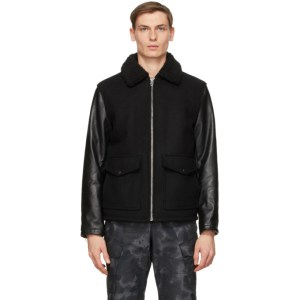 rag and bone Black Schott NYC Edition Leather Deck Jacket