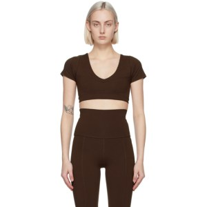 Live the Process Brown Crystal Short Sleeve Sport Top