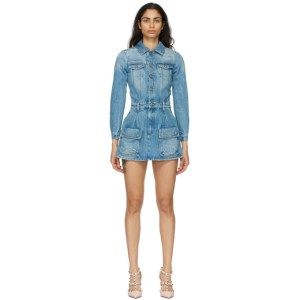 RED Valentino Blue Denim Playsuit Short Dress