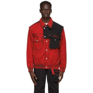 Feng Chen Wang Red and Black Levis Edition Twill Oversized Jacket