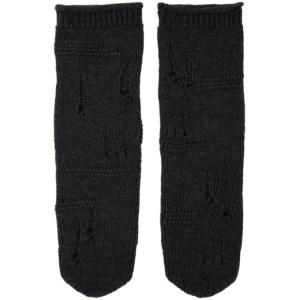 Helmut Lang Grey Distressed Socks