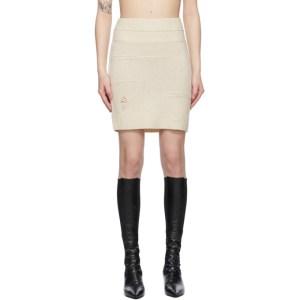 Helmut Lang Beige Distressed Miniskirt