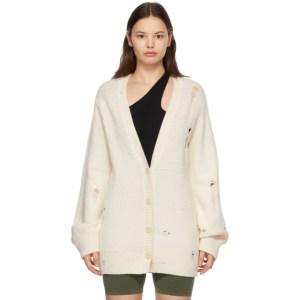 Helmut Lang Off-White Wool Distressed Cardigan