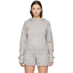 Helmut Lang Grey Wool Distressed Hoodie
