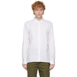 Helmut Lang White Poplin Laced Shirt