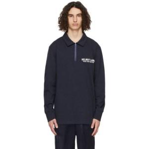 Helmut Lang Navy Logo Long Sleeve Polo