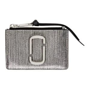 Marc Jacobs Silver Glitter Snapshot Top Zip Wallet