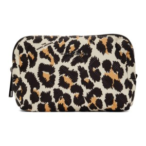 Marc Jacobs Beige and Black Leopard The Beauty Cosmetic Pouch