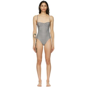 Haight Off-White and Black Vintage One-Piece Swimsuit