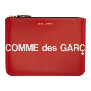 Comme des Garcons Wallets Red Large Huge Logo Pouch