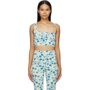 Pushbutton SSENSE Exclusive Yellow and Blue Single Strap Crop Tank Top