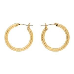 Laura Lombardi Gold Etched Hoop Earrings