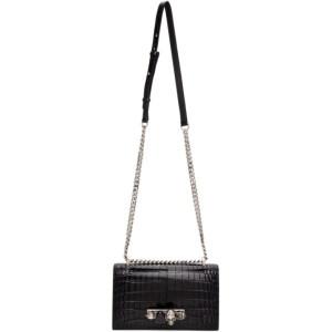 Alexander McQueen Black Croc Jewelled Satchel Bag