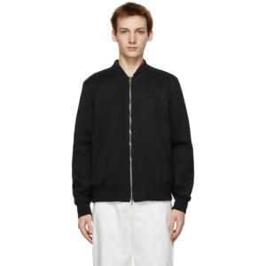 Alexander McQueen Black Wool Embroidered Logo Bomber Jacket