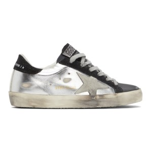 Golden Goose Silver and Black Super-Star Sneakers