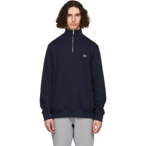 Lacoste Navy Zippered Stand Collar Sweatshirt
