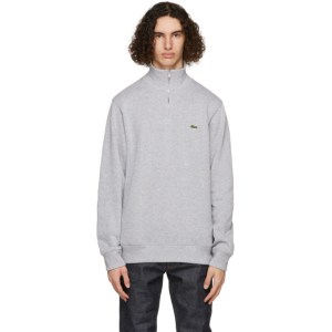 Lacoste Grey Zippered Stand Collar Sweatshirt