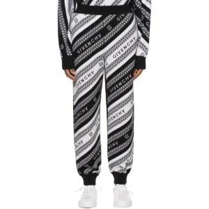 Givenchy Black and White Wool Cropped Logo Lounge Pants