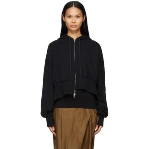 Regulation Yohji Yamamoto Black Asymmetric Hoodie