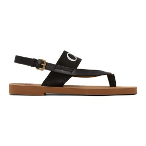 Chloe Black Woody Flat Sandals