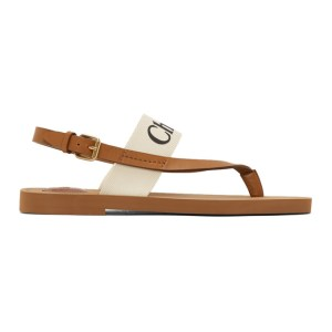 Chloe White and Tan Woody Flat Sandals